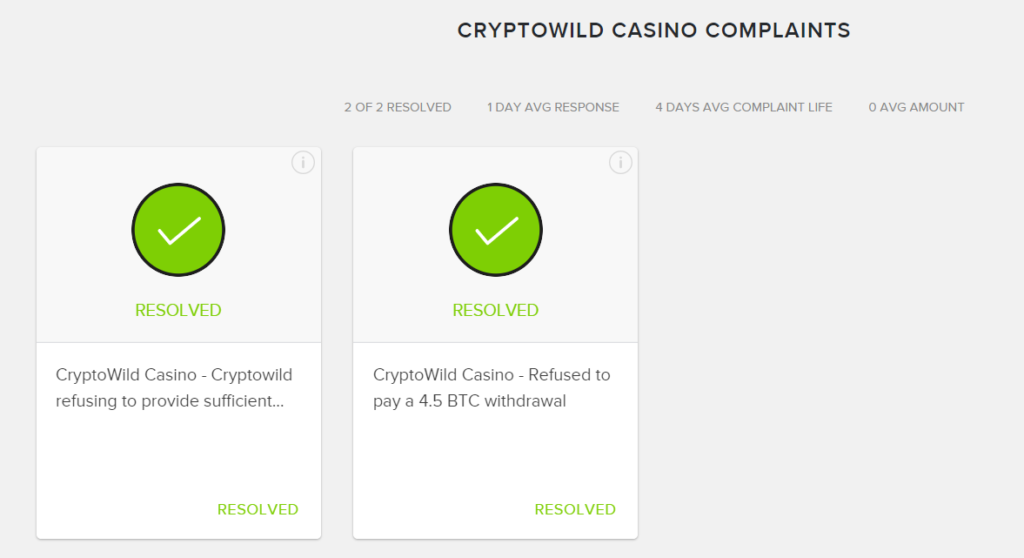 CryptoWild Compliants