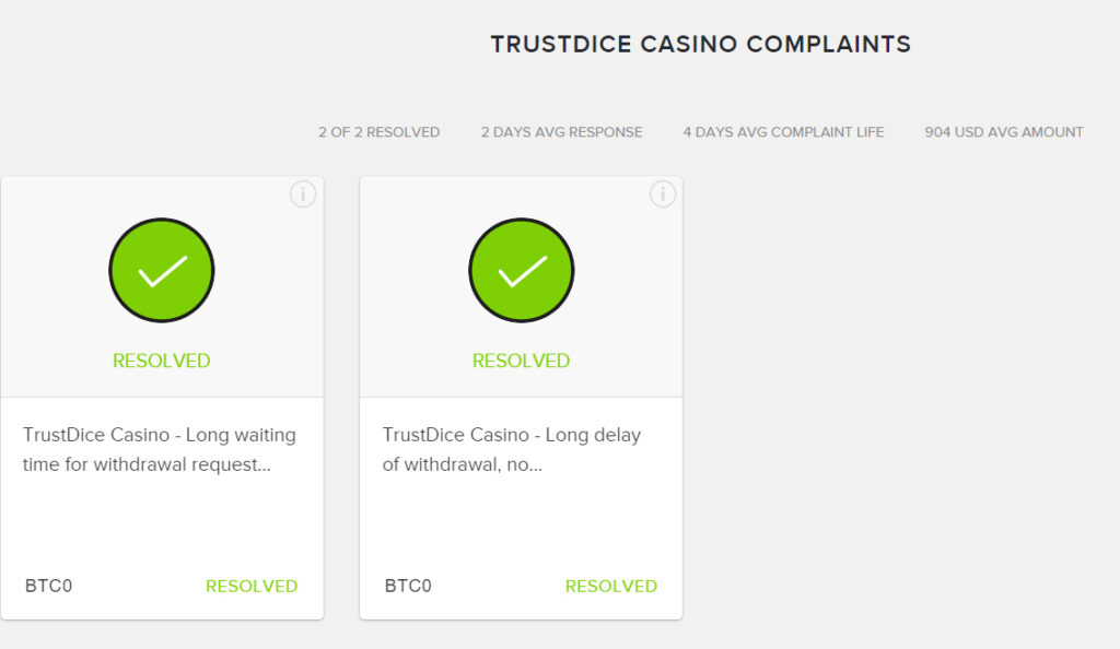 TrustDice Compliants