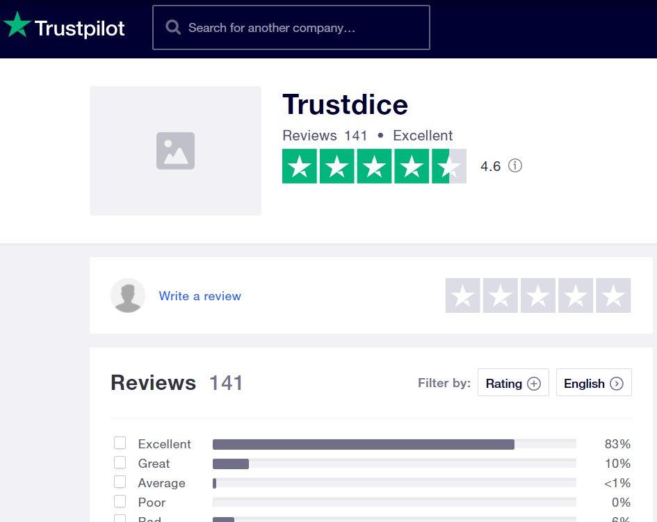 TrustDice on TrustPilot