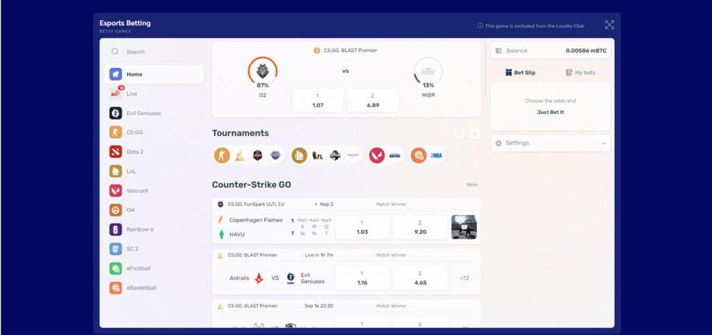 Esports Betting on Bitcasino.io