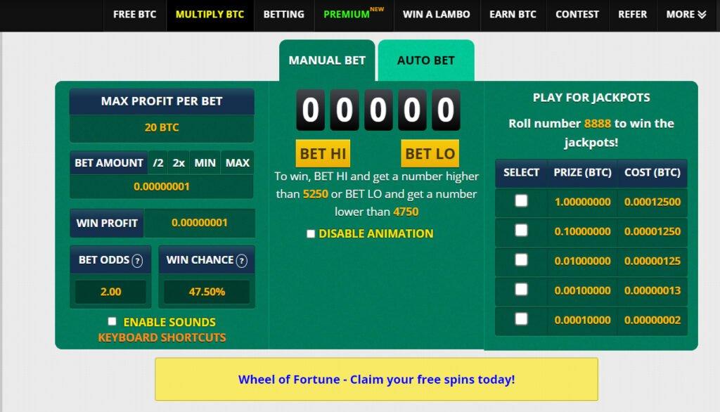 Freebitcoin Casino (Manual Bet)