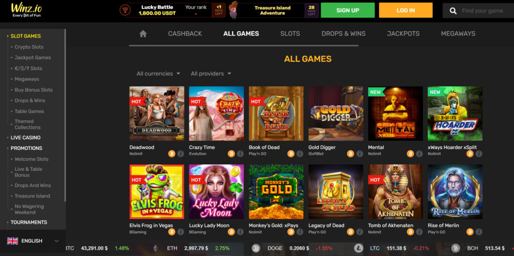 Games Section in Winz.io