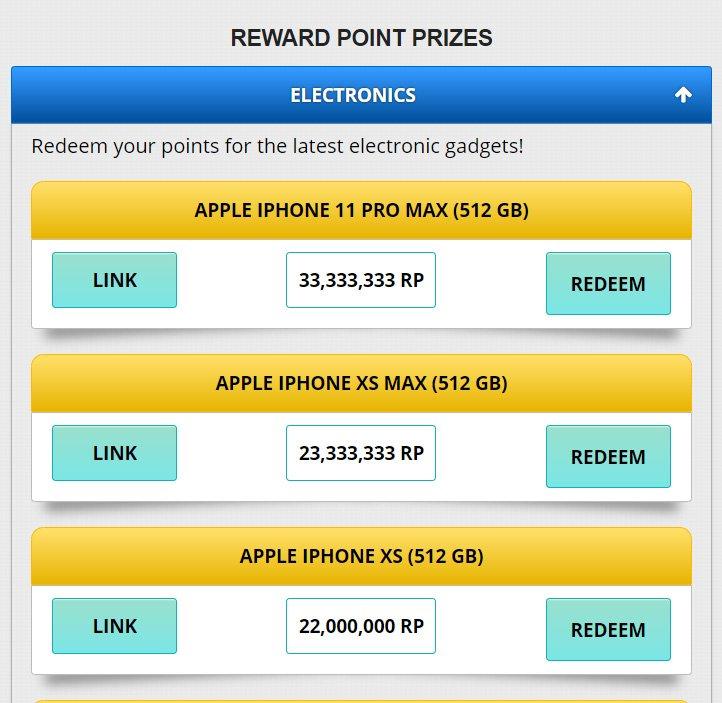 Reward Points Prizes
