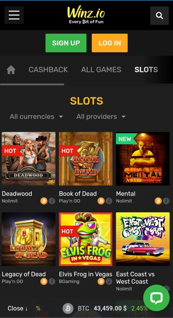 Crypto Slots in Winz.io Mobile